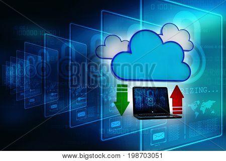 3d rendering Cloud computing concept, cloud sharing