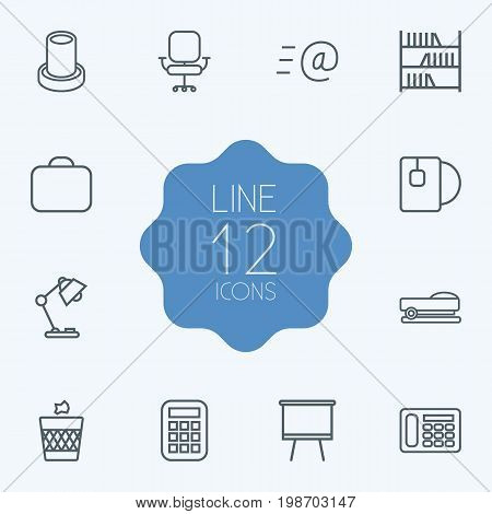 Set Of 12 Office Outline Icons Set