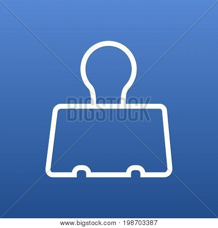 Isolated Paper Clamp Outline Symbol On Clean Background