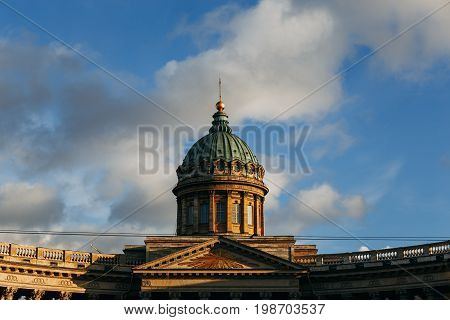 Tower of Kazan Cathedral in St. Petersburg, Russia