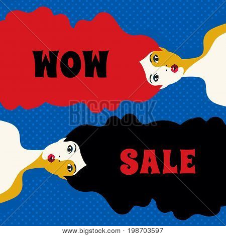 WOW expression concept. Shocked women faces. Design idea price discount advertisement. Surprised girls in abstract pop art retro style on grunge background. Wow sale text. Vector vintage illustration