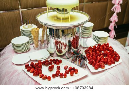 White chocolate fondue with strawberries on a classic wedding. Indoors
