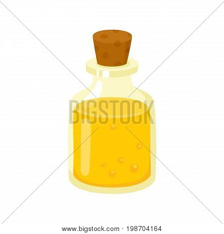 Massage oil in glass bottle closed with cork, spa salon accessory, cartoon vector illustration on white background. Massage, essential oil in beautiful bottle for spa and aromatherapy