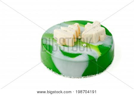 Mousse Cake With Green Glaze On Isolated