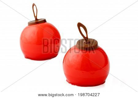 Mousse Cakes Of Red Color In The Form Of A Ball