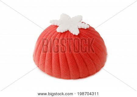 Red Mousse Cake On Isolated Background