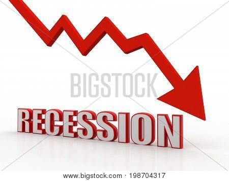Recession Concept. Business crisis concept. 3D Rendering