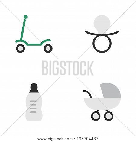 Vector Illustration Set Of Simple Baby Icons