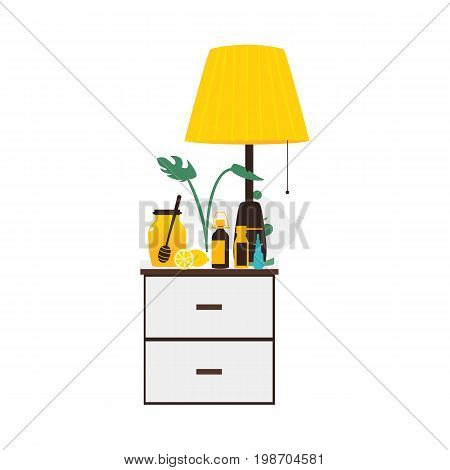 Bedside table with flu medicine bottles, lamp, honey, lemon standing on it, flat vector illustration isolated on white background. Bedside table with flu medicine bottles, lamp, vase, honey lemon tea
