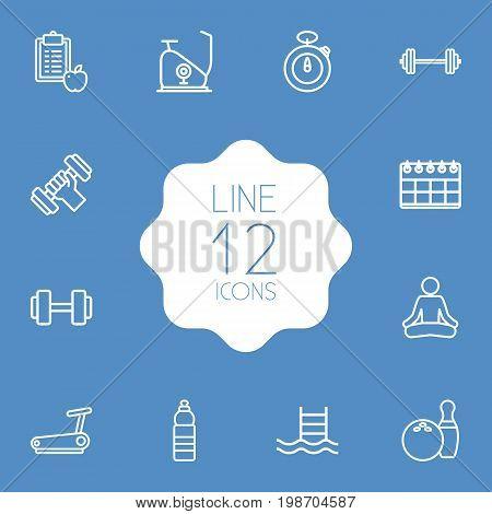 Set Of 12 Bodybuilding Outline Icons Set