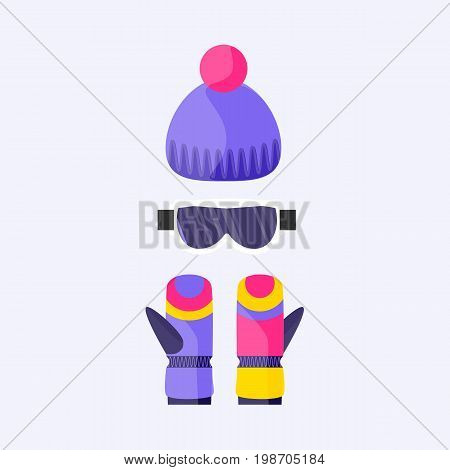 Skiing, snowboarding mask and gloves, goggles, eyewear and knitted beanie hat, flat vector illustration isolated on background. Flat vector skiing, snowboarding beanie