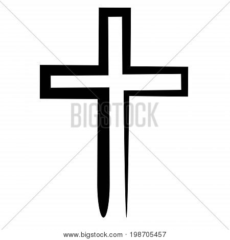 Hand drawn black grunge cross icon, simple Christian cross sign, hand painted cross