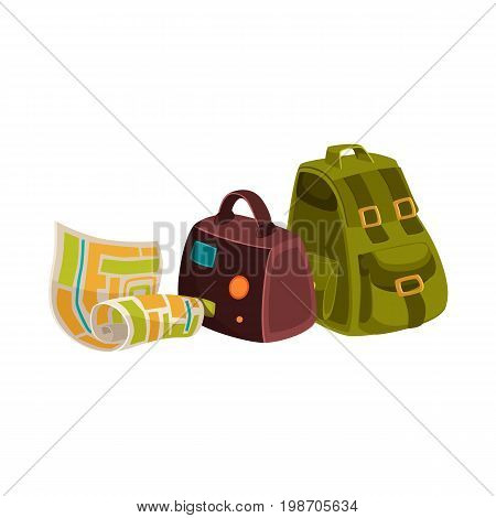 Travel objects - leather suitcase, textile backpack and street map, cartoon vector illustration isolated on white background. Travel bags - handbag and backpack, and geographical tourist map