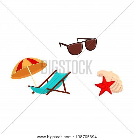 Summer vacation objects - lounge chair, beach umbrella, sunglasses and sea shells, cartoon vector illustration isolated on white background. Cartoon lounge chair, beach umbrella, shells and sunglasses