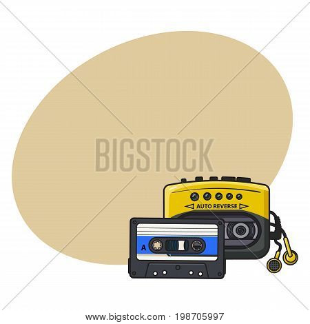 Black and yellow audio player, and audiotape from 90s, sketch vector illustration with space for text. Front view of audio player, with audio cassette and ear buds, earphones