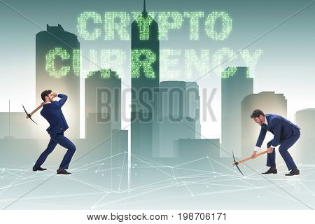 Cryptocurrency concept with businessman mining money
