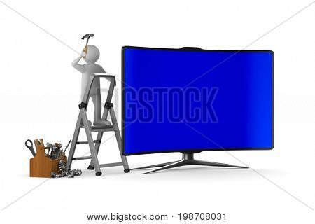 Service TV on white background. Isolated 3D illustration