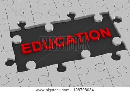 Puzzle and education. 3D illustration