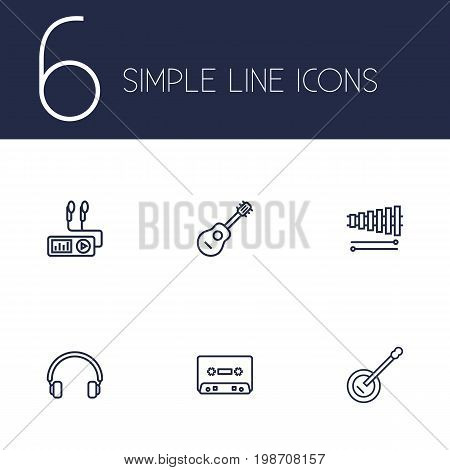 Set Of 6 Song Outline Icons Set