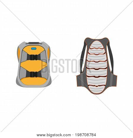 vector snowboarding equipment set - backpack, back protection flat icon. Isolated illustration on a white background. Snowboard, ski winter activity equipment, tools object design.