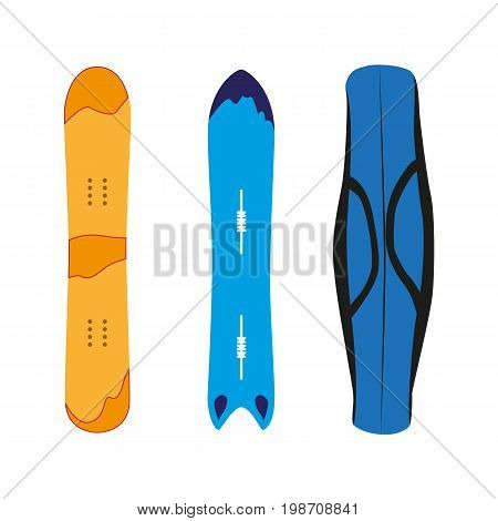 vector snowboard with cover flat icon set. Isolated illustration on a white background. Snowboard, ski winter activity equipment, tools object design.