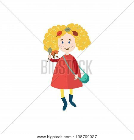 vector girl child wearing coat, rubber boots with purse and leaves in her hair collecting autumn falling leaves. cartoon isolated illustration on a white background. Autumn activity kids concept