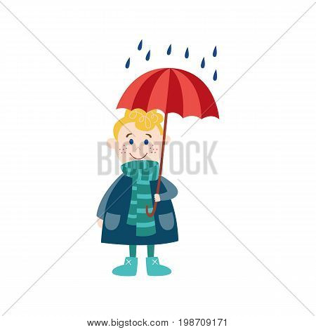 vector boy child wearing rubber boots, scarf blue jacket staying under rain keeping umbrella in hand. cartoon isolated illustration on a white background. Autumn activity kids concept