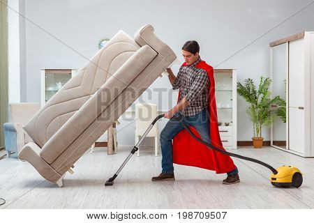 Super hero cleaner working at home