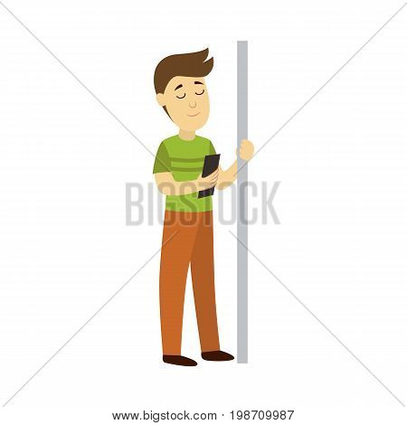 vector adult man reads the book staying in public transport and holding the handrail background. Bus subway underground transport characters concept design