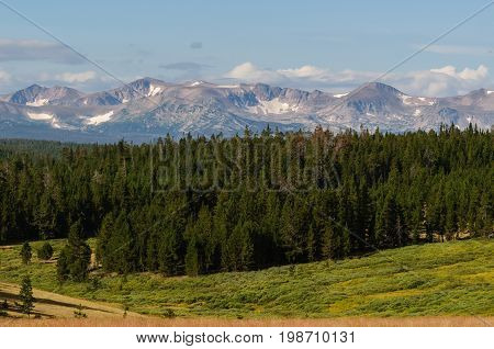 Snowy Mountain Peaks And Sprawling Pine Forests - Colorado Rocky Mountain Scenic Beauty