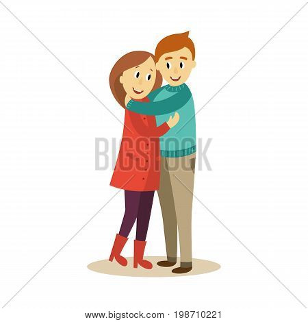 vector adult couple hugging. Flat cartoon isolated illustration on a white background. Adult man and woman emracing each other happily. Happy family hugs concept