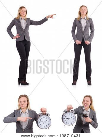 Businesswoman in gray suit isolated on white