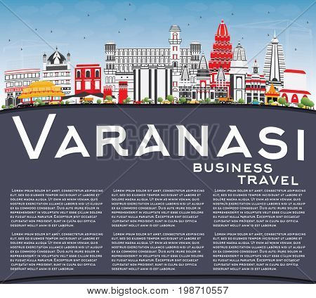 Varanasi Skyline with Color Buildings, Blue Sky and Copy Space. Business Travel and Tourism Concept with Historic Architecture. Image for Presentation Banner Placard and Web Site.