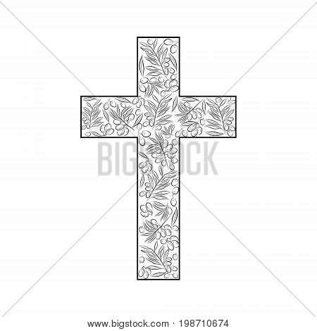 The Latin cross of the crucifix filled with the branches and fruits of the olive tree as a symbol of eternal peace in Christian religion. Vector design.