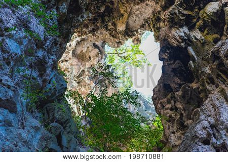 Hole in a karst ceiling with tropical plants in it. Karst formations in Khao Sam Roi Yot National Park, Thailand. Phraya Nakhon Cave, the main tourist attraction of the national park
