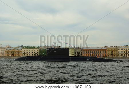 Submarine on the Neva river in St. Petersburg preparation for naval parade