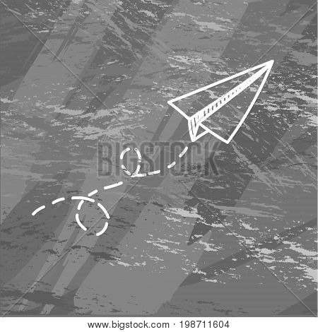 Vector paper airplane. Travel, route symbol. Vector illustration of hand drawn paper plane. Isolated. Outline. Hand drawn doodle airplane. Linear paper plane icon on chalck.