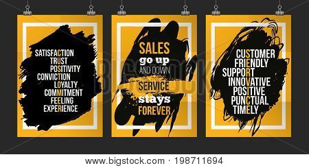 Customer service quote set on grunge stain. Poster set for wall mock up set. A4. Easy to edit.