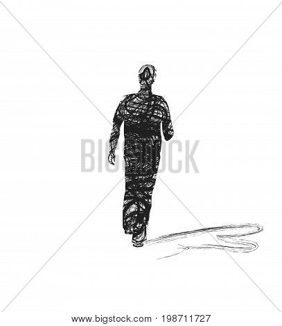 Scribble depicting a male silhouette on white background