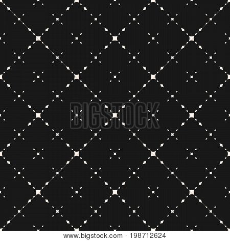 Universal minimalist vector seamless pattern. Subtle geometric texture with small diamond shapes, delicate diagonal grid. Modern dark abstract background, repeat tiles. Simple elegant minimal design.