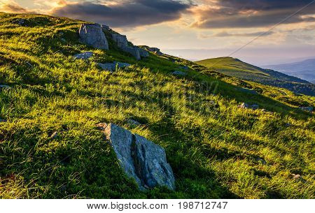 Grassy Meadow With Boulders On Mountain Slope