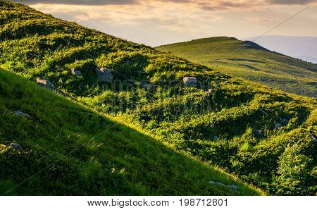 Grassy Meadow On Mountain Slope