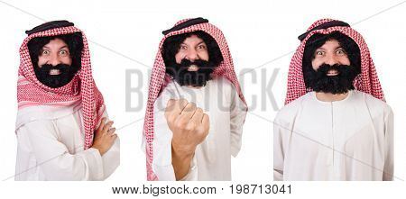 Bearded arab isolated on white background