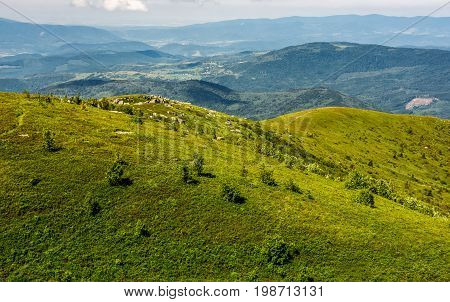 Grassy Meadow On Hillside In Summer Time