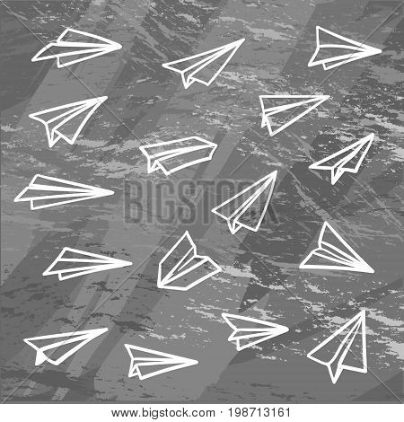 Vector paper airplane. Travel, route symbol. Vector illustration of hand drawn paper plane. Isolated. Outline. Hand drawn doodle airplane. Linear paper plane icon on chalck