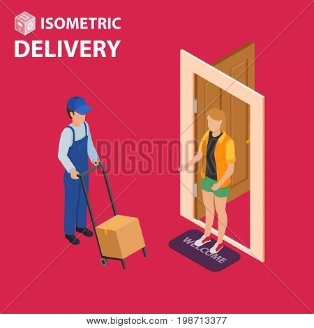 Fast delivery flat isometric vector concept. The Courier stays with the parcel near the door and gives the parcel to the customer.