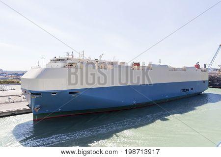 Cargo ship moored at the harbor. Livorno Italy