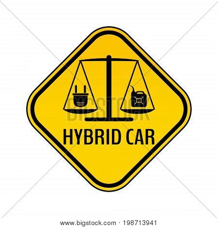 Hybrid car caution sticker. Save energy automobile warning sign. Electric plug and fuel canister icon in yellow and black rhombus to a vehicle glass. Vector illustration.