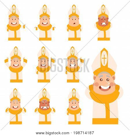 Vector image of the set of flat cartoon Pope