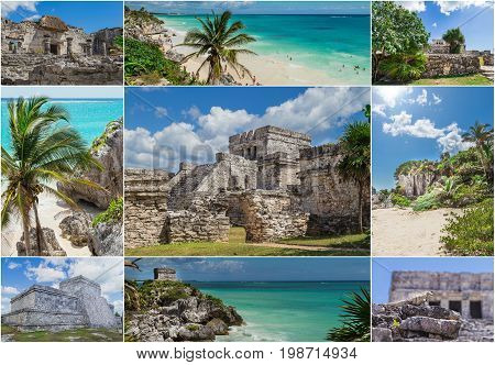 Mexico, a paradise beach in Tulum. Collage, postcard. Mayan civilization,